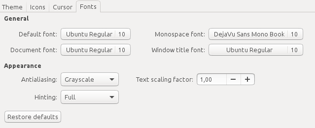 Ubuntu Tweak Font Settings